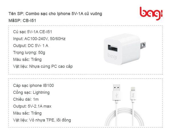 Combo sạc cho iphone củ vuông CB-I51